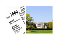 Tax Form 1040 and the White House in Washington DC