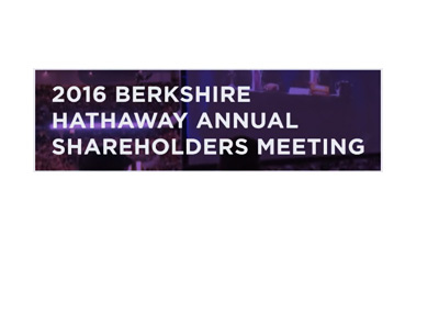 The sign for the 2016 Berkshire Hathaway annual shareholders meeting - Broadcast by Yahoo