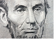 -- Abraham Lincoln on the Five Dollar Bill - Closeup --