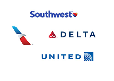 Four airline logos - Year 2016 - Southwest, American Airlines, Delta and United