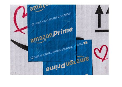 Amazon Prime - Package photographed with blue label.  Year is 2017.
