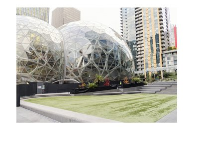 Amazon company headquarters in Seattle, Washington.  Pictured are the orbs located at the campus lawn.