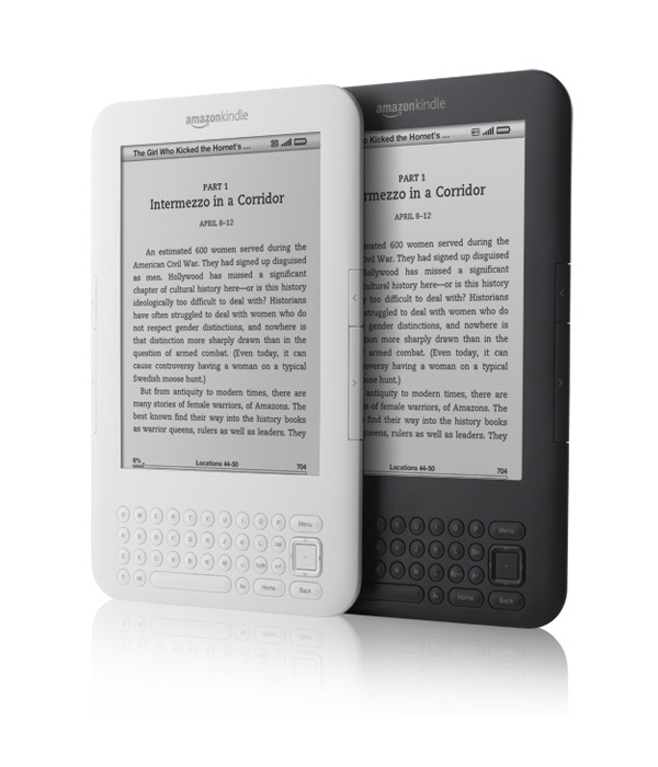 Amazon Kindle in gray and white