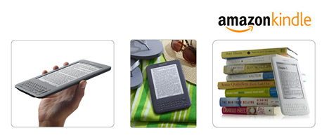 Kindle 3 - Against books, on the beach and in hand - Product logo