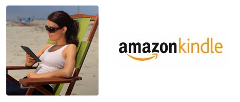Woman reading a Kindle 3 at the beach - Amazon Kindle logo