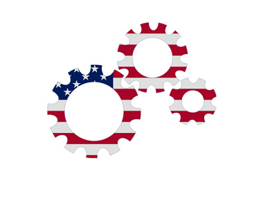 United States economy gears - Illustration / concept