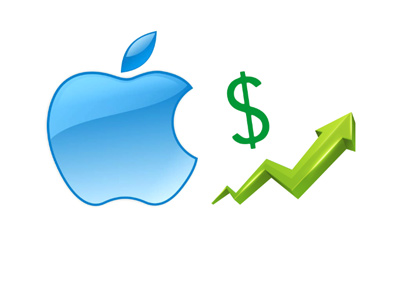 The Apple stock is on the rise.  Illustration.  The chart is pointing up.