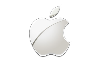 The 2015 version of the Apple company logo. Gray colour