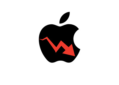 Apple stock down - Illustration - Company logo and red arrow pointing south
