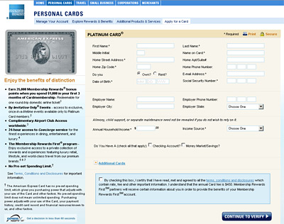 american express website screenshot - apply for an amex card