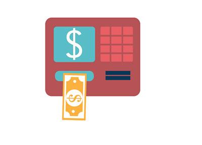 ATM Bank Machine - Illustration - Spitting Out Cash