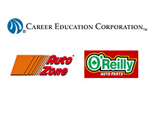 company logos - azo - autozone, orly (oreilly automotive, ceco (career education corporation)
