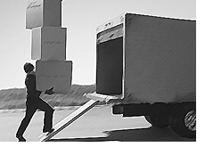 financial term back up the truck - guy loading the truck - illustration