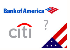 bank of america logo - citibank logo - question mark - american flag - nationalized
