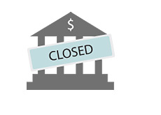 -- Closed sign over the bank symbol --