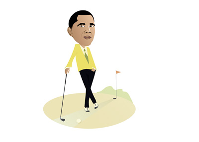 Barack Obama Playing a Round of Golf - Caricature