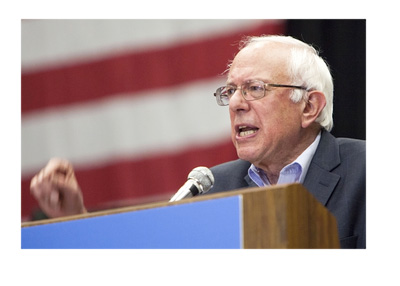 Bernie Sanders speech in front of the American flag ahead of the US Presidential Elections