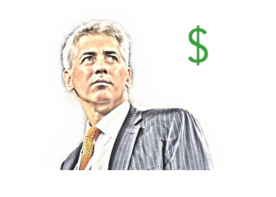 The drawing of hedge fund manager Bill Ackman looking into the distance.