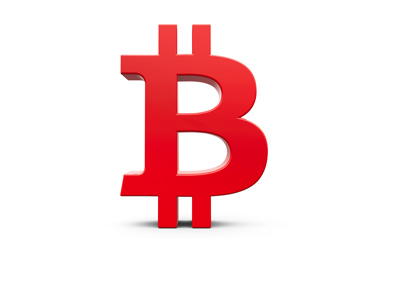 The Bitcoin sign / symbol designed in red 3D.