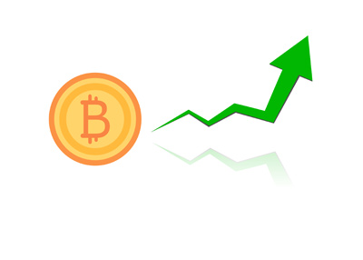 The parabolic rise of cryptocurrency Bitcoin - Illustration.