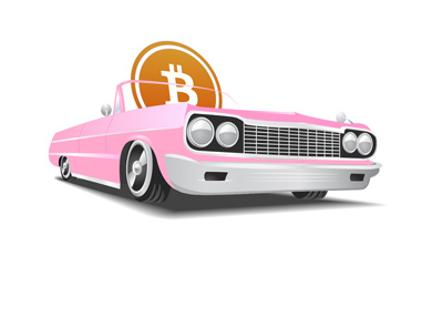 Bitcoin is riding in a sweet convertible car.  Illustration.