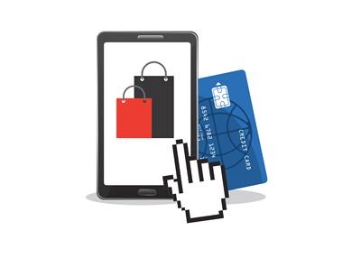 Illustration / concept of Black Friday online sale.  Credit card purchase.  Mobile.