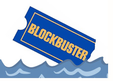 company logo - blockbuster - facing down