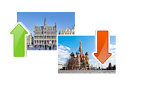 Brussels, Belgium - Increase of US Debt Holdings, Moscow, Russia - Decrease - Photo Collage