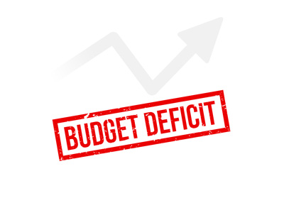 Budget deficit growing.  Illustration / stamp theme