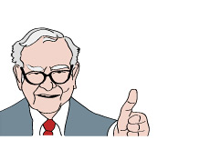 -- Illustration of Warren Buffett giving a thumb up to the US economy --