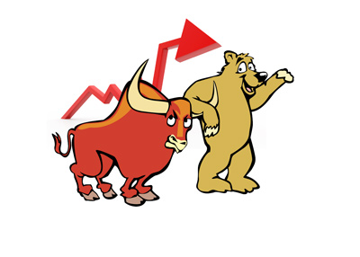 The Bull is annoyed by the bear.  Stock market illustration.