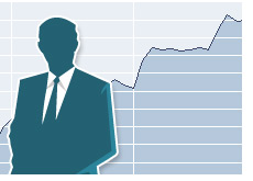 -- Businessman silhouette in front of a declining stock chart --