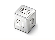 dice showing - buy sell and hold positions - stock market strategy