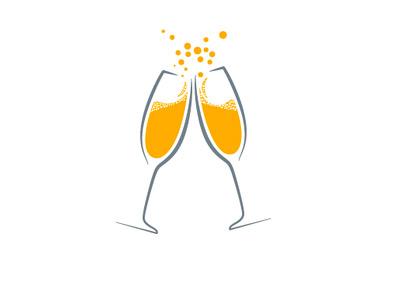 Champagne cheer - Two glasses - Vector Drawing