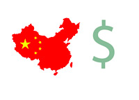 China Outlina / Flag - Illustration - US Dollar