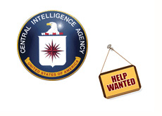-- cia - central intelligence agency - help wanted sign --