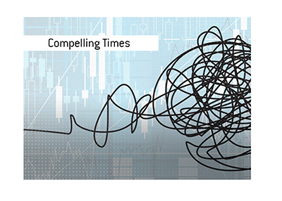 Compelling times.  Manufactured chaos.  Financial world in turmoil.  Illustration.