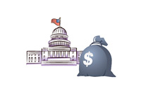 Congress next to a money bag - Illustration