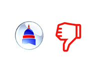 Opinion Poll - Thumbs down for Republicans and Democrats in Congress - Illustration
