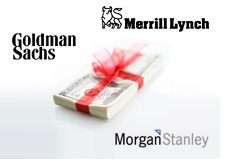 corporate year end bonuses - goldman sachs merrill lynch and morgan stanley - logos