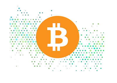 Bitcoin cryptocurrency.  Illustration.  Orange coin on top of computerized background.