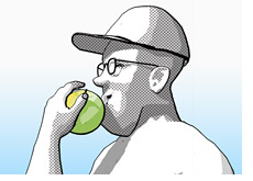 dave manuel eating an apple - how to select a trading newsletter