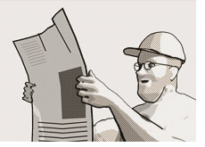 dave reading newspaper