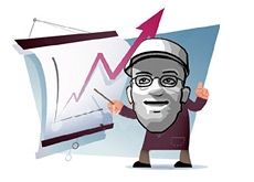 dave is pointing to a chart for a company that is skyrocketting -  lahde capital - hedge fund