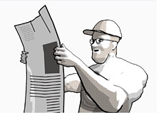 dave is talking about blogging - reading the newspaper
