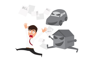 Man wearing a shirt and a tie is being attacked by house and car debt.  Illustration.