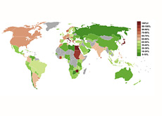 world map - gdp and debt - percentage