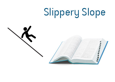 The meaning of the term Slippery Slope in English language.  Examples and illustration are provided.