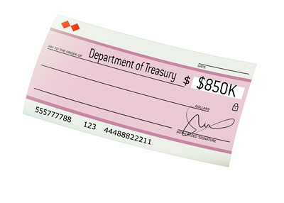 A Cheque written to the US Department of Treasury for 850k