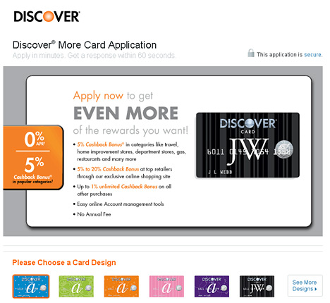 -- apply for a discover transfer card --
